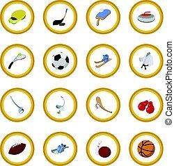 círculo, desporto, caricatura, ícone