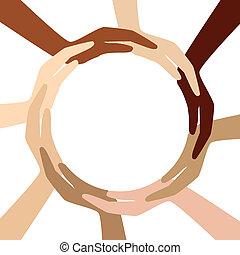 círculo, diferente, manos