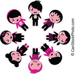 círculo, emo, crianças, isolado, branca