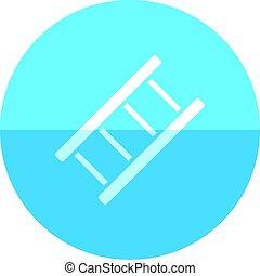 círculo, -, escada, ícone