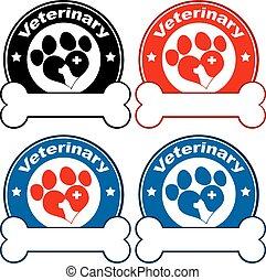 círculo, etiquetas, desenho, veterinário