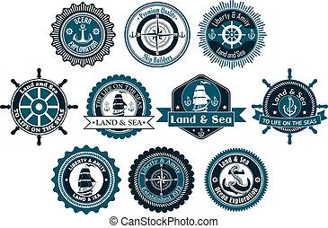 círculo, etiquetas, marina, heráldico