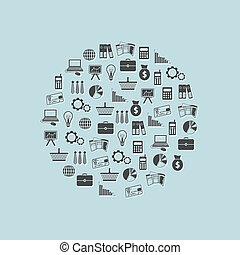 círculo, finanzas, iconos