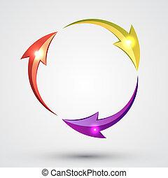 círculo, -, flecha, ciclo