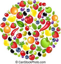 círculo, fruta, vegetales
