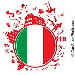 círculo, fundo, italiano