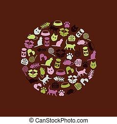 círculo, gato, iconos