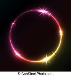círculo, glowing, vetorial, fundo, coloridos