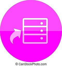 círculo, icono, -, base de datos
