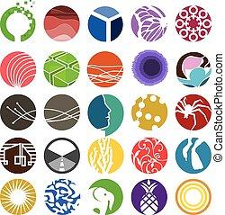 círculo, icono, conjunto, 01