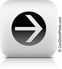 círculo, icono, flecha negra, señal