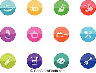círculo, iconos, -, cocina