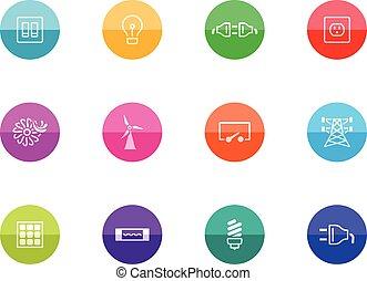 círculo, iconos, -, electricidad