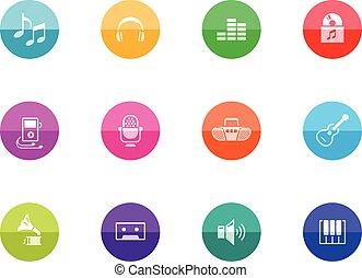 círculo, iconos, -, música