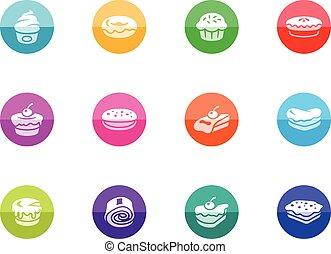 círculo, iconos, -, pasteles