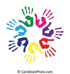 círculo, impresiones, colorido, mano