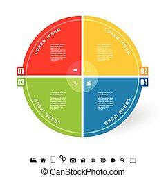 círculo, infographic, ilustração, ícone