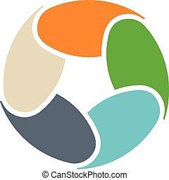 círculo, infographic, partes, logotipo