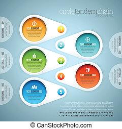 círculo, infographic, tándem, cadena