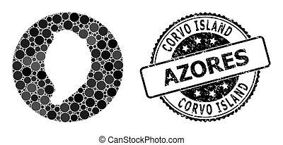 círculo, isla, plantilla, mapa, corvo, mosaico, sello, rasguñado
