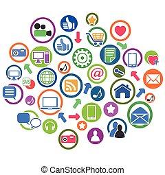 círculo, jogo, grupo, ícones