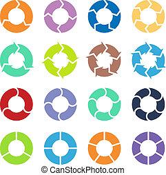 círculo, jogo, setas