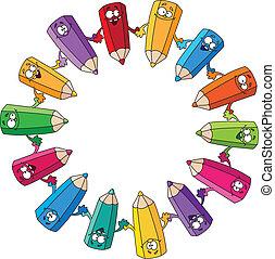 círculo, lápices