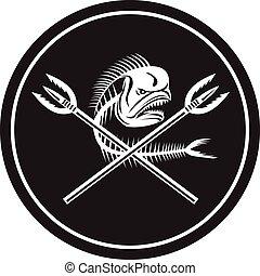 círculo, mahi, pez, delfín, retro, lanzas, cráneo, cruzado