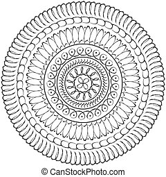 círculo, mandala, geométrico, sagrado, dibujo