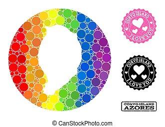 círculo, mapa, mosaico, rasguñado, espectro, corvo, lgbt, amor, isla, sello, plantilla