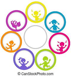 círculo, marco, con, niños, y, lugar, para, su, texto