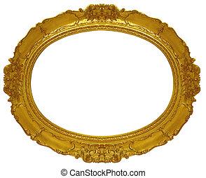 círculo, marco, oro