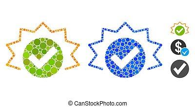 círculo, mosaico, icono, alarma, puntos, verdadero