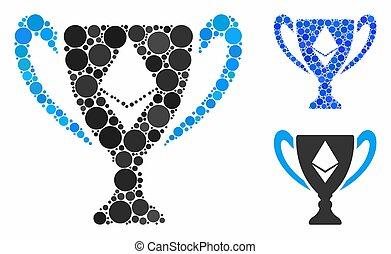 círculo, mosaico, taza, puntos, premio, ethereum, icono