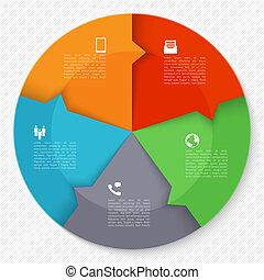 círculo, negócio moderno, infographics