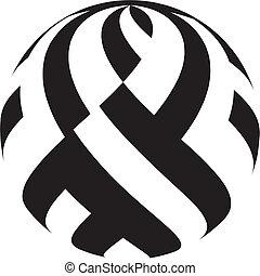 círculo, negro, blanco