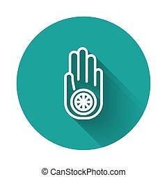 círculo, o, símbolo, ilustración, ahimsa., jain, largo, ...