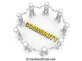 círculo, palavra, caráteres, comunidade
