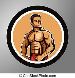 círculo, pegatina, condición física