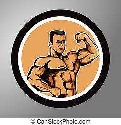 círculo, pegatina, ejercicio, condición física