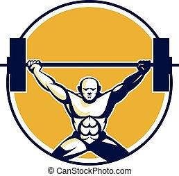 círculo, pesos, weightlifter, levantamento, retro