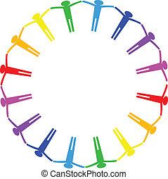 círculo, pessoas