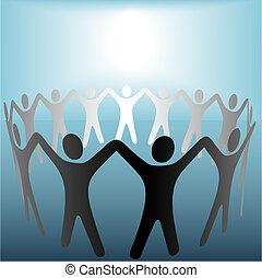círculo pessoas, segure mãos, sob, luminoso, copyspace, mancha, ligado, azul