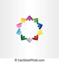 círculo, pessoas, trabalho equipe, estrela, ícone