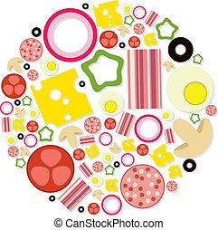 círculo, pizza, ingredientes