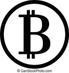 círculo, pretas, bitcoin, ícone