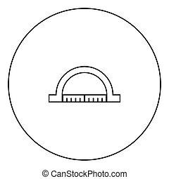 círculo preto, transferidor, esboço, ícone