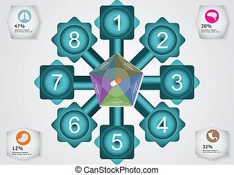 círculo, quadrados, dois, retângulo