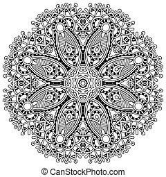 círculo, renda, ornamento, redondo, ornamental, geomã©´ricas, doily, padrão, preto branco, cobrança