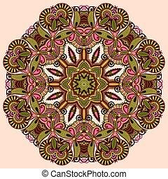 círculo, renda, ornamento, redondo, ornamental, padrão
